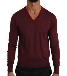 Dolce & Gabbana Cherry Silk V-Neck Crown Sweater