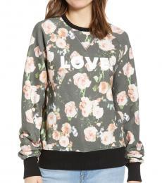 Rebecca Minkoff Black Multi Jennings Love Roses Sweatshirt