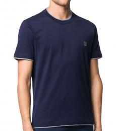Brunello Cucinelli Navy Blue Cotton Logo T-Shirt