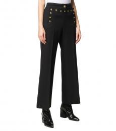 Black Studded Flared Wool Trouser