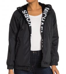 Michael Kors Black Hooded Logo Plush Jacket