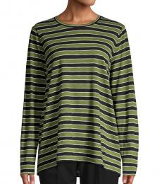 Michael Kors Olive Striped Cotton-Blend Tee