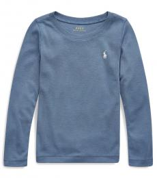 Ralph Lauren Little Girls Capri Blue Long-Sleeve T-Shirt