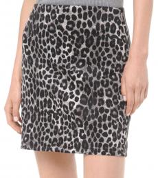 Grey Leopard Scuba Skirt