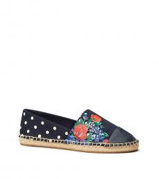Tory Burch Navy Tea Floral Colorblock Espadrilles