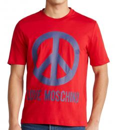 Red Peace Logo Printed T-Shirt