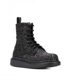 Black Glitter Biker Boots