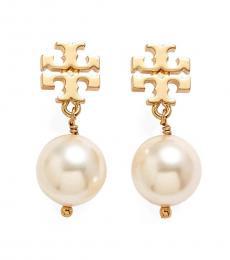 Tory Burch Gold Logo Faux Pearl Earrings