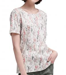 DKNY White Abstract Print Sequin Tee