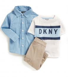 DKNY 3 Piece Shirt/T-Shirt/Joggers Set (Baby Boys)