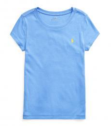 Ralph Lauren Girls Harbor Island Blue Cotton-Modal T-Shirt