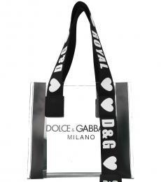 Dolce & Gabbana Transparent Logo Strap Medium Tote