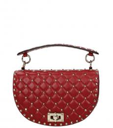 Red Rockstud Medium Shoulder Bag