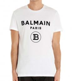 Balmain White Flock Logo T-Shirt