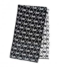 Black Logo Reversible Infinity Wrap Scarf