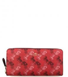 Coach Red Horse And Carriage Accordion Wallet