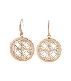 Michael Kors Rose Gold Double Circle Logo Drop Earrings