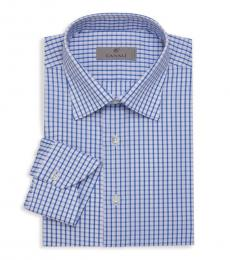 Canali Blue Check Dress Shirt