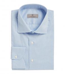 Canali Light Blue Check Modern Fit Dress Shirt