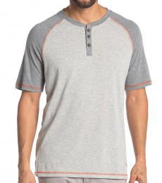 Light Grey-Contrast Henley T-Shirt