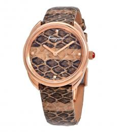 Salvatore Ferragamo Pink-Rose Gold Cuir Watch