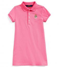 Little Girls Baja Pink Madras Bear Dress