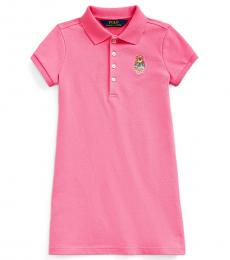 Ralph Lauren Little Girls Baja Pink Madras Bear Dress