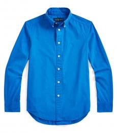 Ralph Lauren Boys Travel Blue Garment-Dyed Shirt