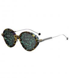 Christian Dior Blue Havana Mirror Leaf Oval Sunglasses