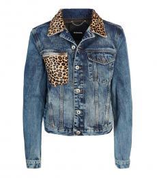 Diesel Blue Leopard Print Denim Jacket
