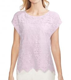 Vince Camuto Light Purple Floral Lace Cap Sleeve Top