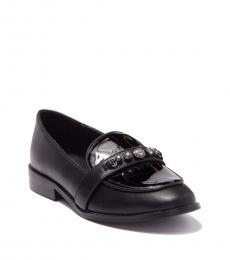 Little Girls Black Stacy Embellished Loafers