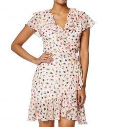 Light Pink Petite Floral Wrap Dress