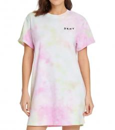 DKNY Multi color Tie-Dye T-Shirt Dress