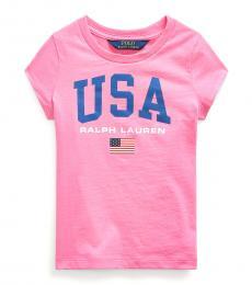 Ralph Lauren Little Girls Baja Pink Graphic T-Shirt