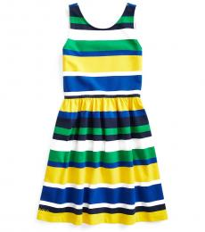 Girls Multicolor Striped Stretch Jersey Dress