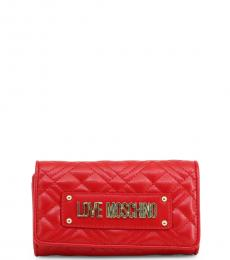 Love Moschino Red Quilted Flap Wallet