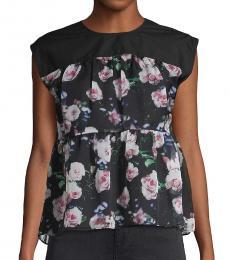 Rebecca Minkoff Black Sleeveless Floral Top