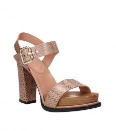 Tod's Pink Snake Print Leather Heels