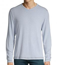 Light Blue Long-Sleeve V-Neck T-Shirt