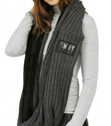 Grey-Black Fleece Knit Infinity Scarf