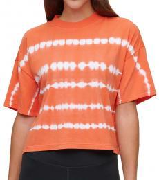 Calvin Klein Orange Tie-Dyed Mock-Neck Top