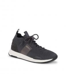 Hugo Boss Grey Textured Sneakers