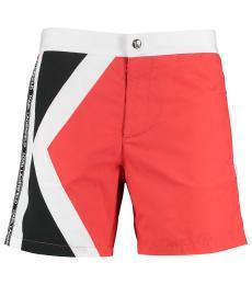 Karl Lagerfeld Red White Logo Swim Shorts