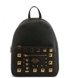 Black Studded Medium Backpack