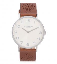 Coach Brown Embossed Leather Watch