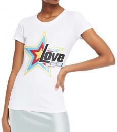 White Sequin-Embellished Print T-Shirt