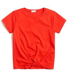 J.Crew Little Girls Vibrant Flame Tie-Front T-Shirt