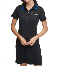 Calvin Klein Black Cotton Striped-Collar Shirtdress