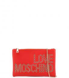 Love Moschino Red Logo Clutch